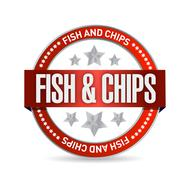 fish and chips seal illustration design - stock illustration