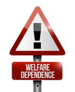 welfare dependency road sign illustration design - stock illustration