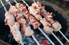 Shish kebab preparation on a brazier Stock Photos