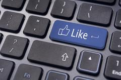 Like message on keyboard button, social media concepts Stock Illustration
