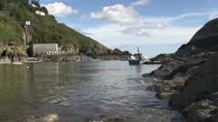 polperro rocky harbour in cornwall Stock Footage