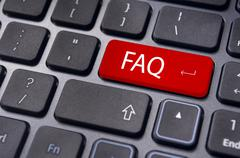 faq concepts, messages on keyboard enter key - stock illustration