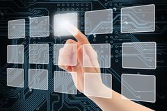 Woman hand using touch screen interface . Stock Illustration