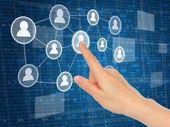 Hand pushing virtual social media icon . Stock Illustration