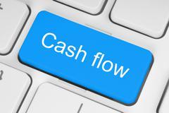 Blue cash flow button . Stock Illustration