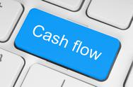 Stock Illustration of blue cash flow button .