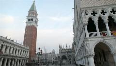 Bell tower and Doge's Palace in St. Mark's Square, Venice, Italy Stock Footage