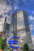frankfurt, germany - jul 12: european central bank in frankfurt with euro sig - stock photo