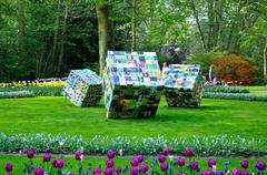 ergernis en gemak (big colorful cubes) in keukenhof park in holland - stock photo