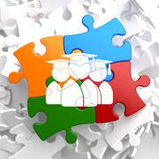 Stock Illustration of Group of Graduates Icon on Multicolor Puzzle.