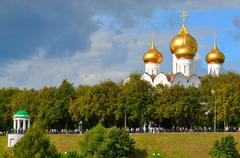 assumption cathedral with golden domes, yaroslavl, russia - stock photo