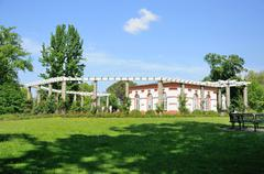 nature and a white building in palmen garten, frankfurt am main, hessen, germ - stock photo