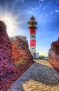 punto teno lighthouse in north-west coast of tenerife, canarian islands - stock photo