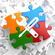 Service Concept on Multicolor Puzzle. - stock illustration