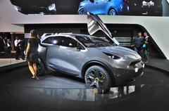 frankfurt - sept 14: kia niro concept presented as world premiere at the 65th - stock photo