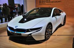 frankfurt - sept 14: bmw i8 presented as world premiere at the 65th iaa (inte - stock photo