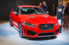 frankfurt - sept 21: jaguar xj presented as world premiere at the 65th iaa (i - stock photo