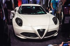 frankfurt - sept 21: alfa romeo 4c presented as world premiere at the 65th ia - stock photo