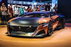Frankfurt - sept 21: peugeot onyx hybrid supercar (conceptcar)  presented as  Stock Photos