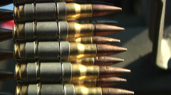.50 Caliber Machine Gun Bullets Military Police Ammunition Belt Fed Brass Rounds Stock Footage