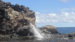 Blowhole Rocks and Ocean Stock Footage