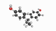 bisphenol a. molecular structure on a white background. - stock footage
