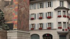 Altdorf, Switzerland - monument of Wilhelm Tell Stock Footage