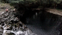First Person Cliff Jump - stock footage