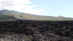 Lush Mountain and Lava Rock Pan Left Stock Footage