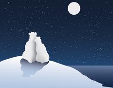 Polar Bear Romance - stock illustration