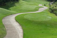 golf course with buggy lane - stock photo