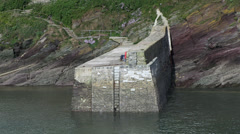 harbour wall in polperro Stock Footage