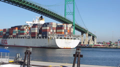 Container Ship Passes Under Bridge - stock footage