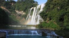 Huangguoshu waterfall rainbow Stock Footage