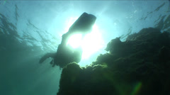 Underwater diver cover with sunlight Stock Footage