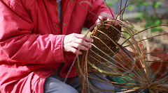 Weaving wicker basket Stock Footage