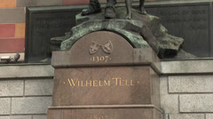 Altdorf, Switzerland - monument of Wilhelm Tell Stock Footage