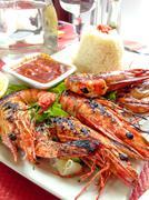 delicious fried shrimp - stock photo
