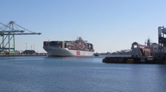 Container Ship OOCL Italy Enters Port Stock Footage