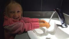 Child, Little Girl Washing Hands with Water in Public Bathroom Sink, Children Stock Footage