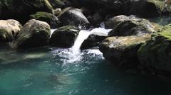 Rock waterfall pool Stock Footage