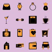 adult lifestyle black and orange color icons - stock illustration