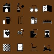 elderly related icons on brown background - stock illustration