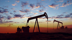 Oil Pumps at Sunset Stock Footage