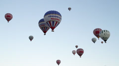 Hot Air Ballons Flying on the Sky Stock Footage