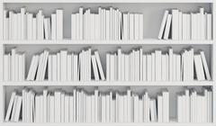 Bookcase with white books Stock Illustration