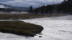 Mist on Madison River in Yellowstone National Park Stock Footage