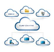 Stock Illustration of cloud computing diagram connection concept.