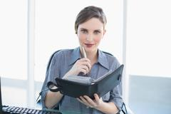 Stock Photo of Friendly young businesswoman holding her diary sitting at her desk