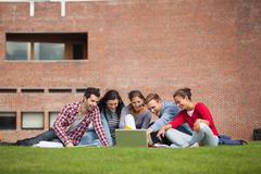 Stock Photo of Five casual students sitting on the grass pointing at laptop